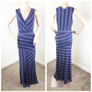 NEW Go Couture blue and white striped maxi dress